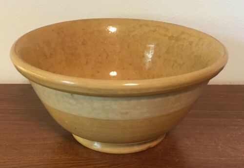 Antique Annular Yellow Ware Bowl with Wide White Band