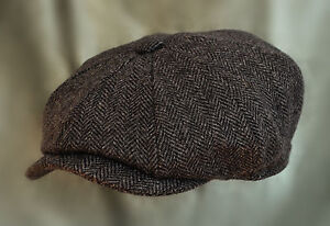 MENS-DARK-GREY-HERRINGBONE-BAKER-BOY-GATSBY-NEWSBOY-100-WOOL-CAP-CHOICE-OF-SIZE