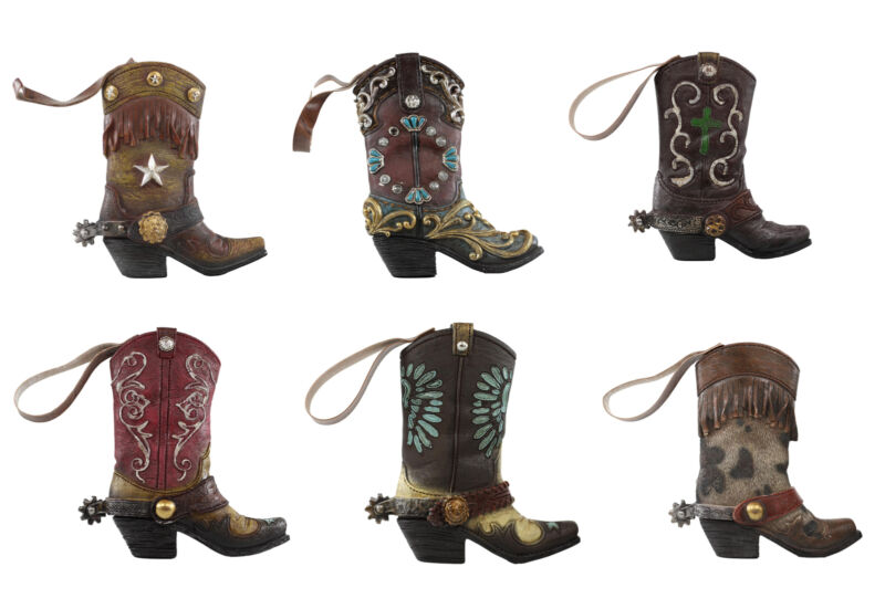 Pack of 6 Lone Star Lace Cross Turquoise Western Cowboy Cowgirl Boot Wall Decors