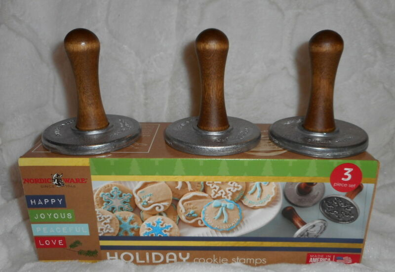 NORDIC WARE CHRISTMAS HOLIDAY COOKIE STAMPS (3) WREATH SNOWFLAKE GIFT TAG NEW