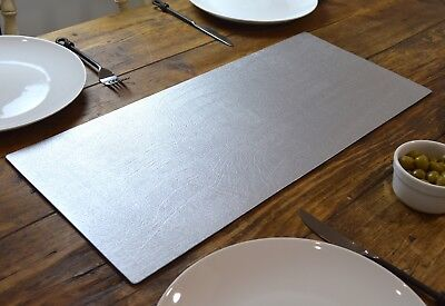 ARTISAN SILVER Bonded Leather TABLE RUNNER MAT Centerpiece MADE IN UK Home Decor