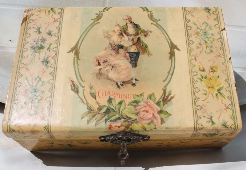 Vintage Wood Lacquered Jewelry Box, Victorian Colonial