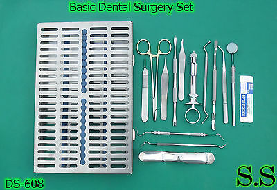 Set Of 19 Pcs Basic Dental Surgery Kit Surgical Dental Instrumentsds-608