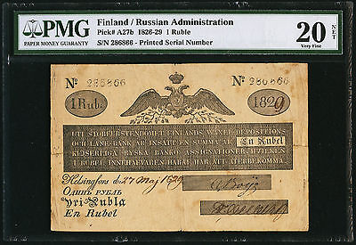 Filand Lot P-A27b 1829 1 Ruble VF 20 Net Russian Administration