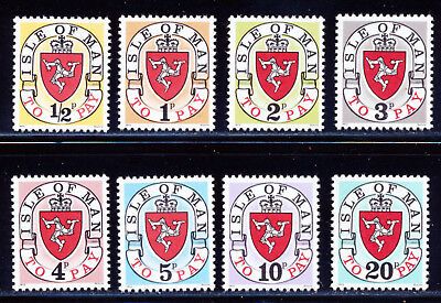 GREAT BRITAIN 1973 ISLE OF MAN POSTAGE DUE SET SCOTT J1-J8 CV 36 - $4.25