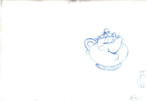 Mrs Potts Walt Disney Beauty and Beast Production Animation Cel Drawing 1991 212