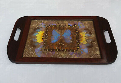 Vintage Wooden Brazilian Iridescent Butterfly Wing Serving Tray