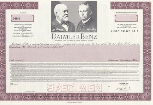 DAIMLER BENZ SPECIMEN STOCK CERTIFICATE AMERICAN DEPOSITORY SHARES GERMANY
