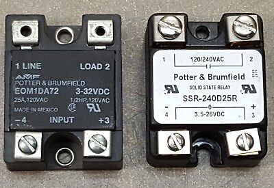 Lot Of 2 Potterbrumfield Solid State Relay Eom1d72 Ssr-240d25r
