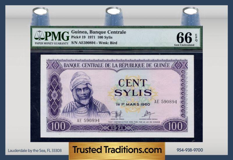 TT PK 19 1971 GUINEA 100 SYLIS PMG 66 EPQ GEM UNCIRCULATED