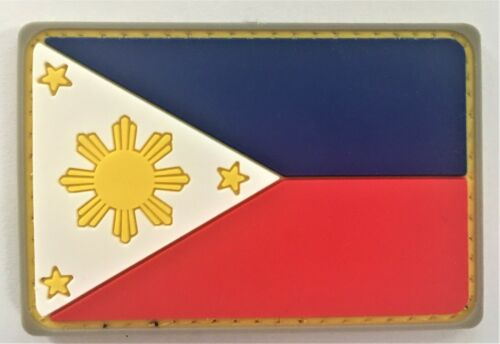 Philippines PI Pilipinas Pinoy Flag PVC Silicon Rubber Patch Hook&Loop   679