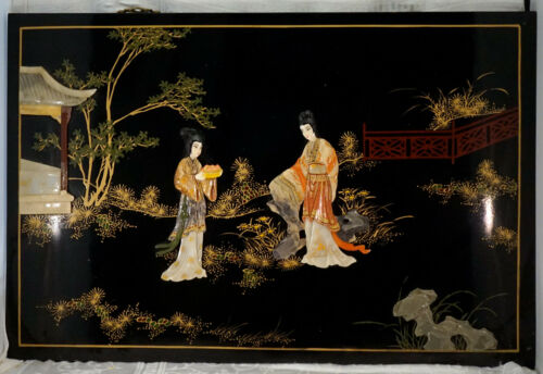 """Large Chinese Black Lacquer & Soapstone """"Painting"""" Wall Hanging Plaque 2 Geisha"""