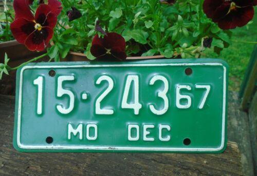 Vintage 1967 Missouri Motorcycle License Plate MO # 15-243