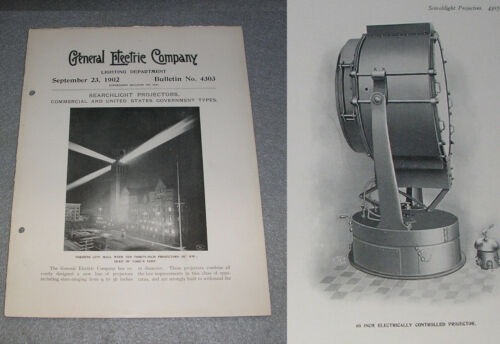 Antique General Electric GE Search Light Projectors Controls Catalog Book 1902