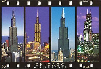 Postcard IL Chicago Willis Tower - Four Views Oversize MINT