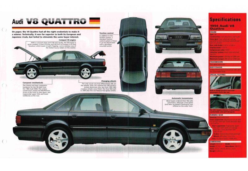 AUDI V8 QUATTRO SPEC SHEET / Brochure / Pamphlet: 1994,1993,1992,....V-8