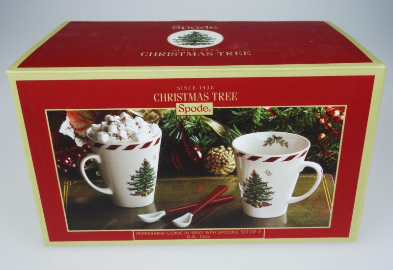 2 Spode Christmas Tree Peppermint Mug Cup with Spoons 14oz NIB