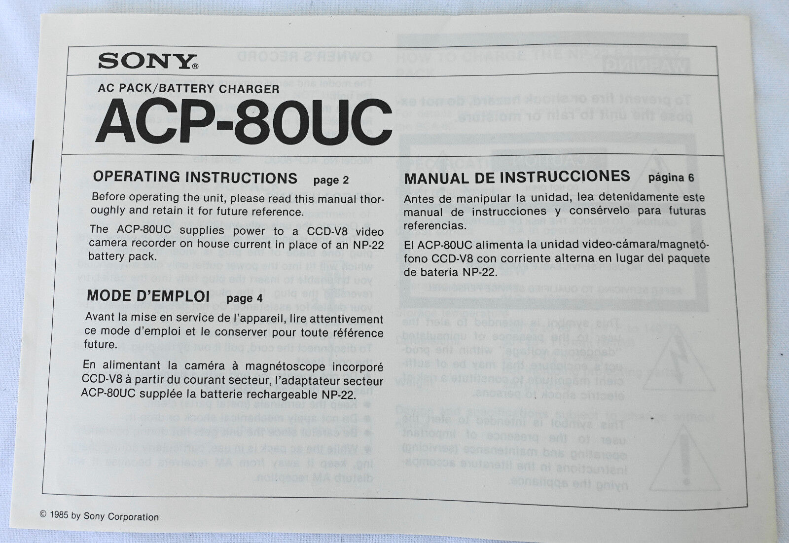 Original Sony AC Pack/Battery Charger ACP-80UC Operating Instruction Manual