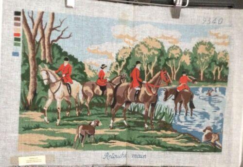French VTG Needlepoint Tapestry Canvas Dog Chase Hunt Horses