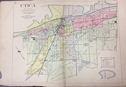 1907 CITY OF UTICA, NEW YORK, REPRODUCTION PLAT ATLAS MAP