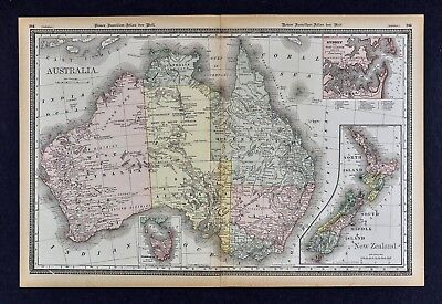 1891 McNally Map - Australia & New Zealand  Sydney Tasmania Melbourne Wellington
