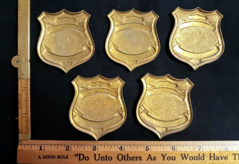 LOT OF 5 OLD BLANK BADGES NOS SHIELD TYPE OBSOLETE