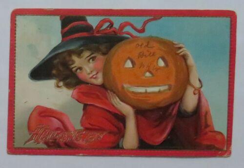 VTG Halloween Postcard Raphael Tuck Pretty Witch & Jack-O-Lantern