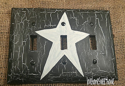 Primitive Crackle Black & White Star  Triple Light Switch Plate ~ Country Decor