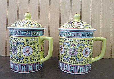 2 Pics Yellow Mun Shou Porcelain Tea Cup Coffee Mug Jar