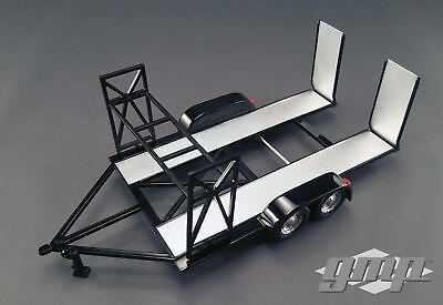 GMP 18820 1:18 SCALE TANDEM CAR TRAILER W/ TIRE RACK BLACK for sale  Graham