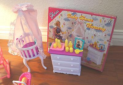 GLORIA DOLLHOUSE FURNITURE SIZE BABY HOME NURSERY W/CHAIR PLAYSET FOR BARBIE