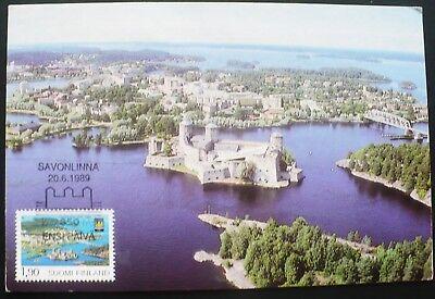 1989 350th Anniversary the Castle in Savonlinna Finland Maximum Postcard Cancel