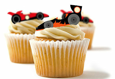 ✿ 24 Edible Rice Paper Cup Cake Topper, decorations - Race Cars, motor racing - Cup Cake Decorations