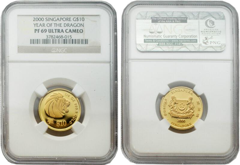 Singapore 2000 Year of Dragon $10 1/4 oz Gold NGC PF69 ULTRA CAMEO