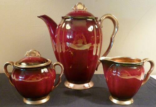 Vintage Carlton Ware ROUGE ROYALE coffee set: coffee pot, sugar bowl, creamer