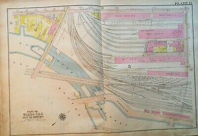 1917 SOUTH BOSTON MASSACHUSETTS TERMINAL FORT POINT CHANNEL ATLAS (Boston Terminal Map)