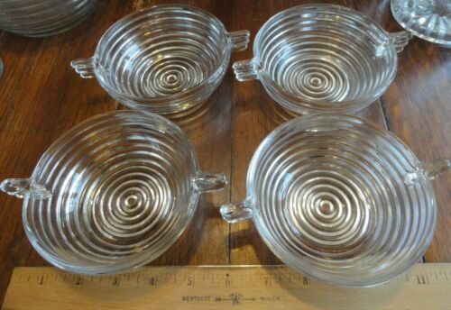 Vintage  Deco Clear Glass Manhattan  Pattern  4 fruit or dessert dishes w handle