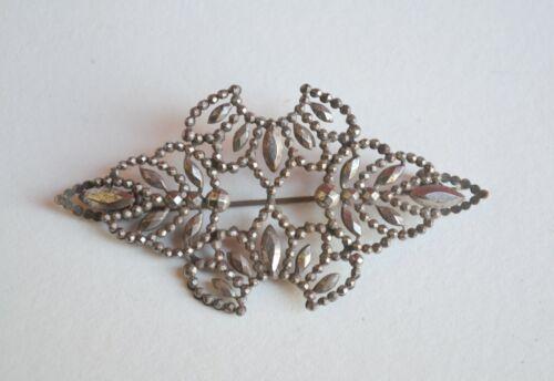 Antique cut steel brooch Georgian/Victorian lovely work & design layered varied
