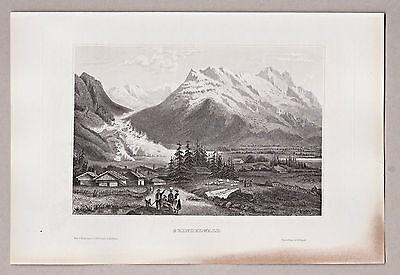 Gesamtansicht von Grindelwald, Kanton Bern, Schweiz. Stich, Stahlstich um 1850