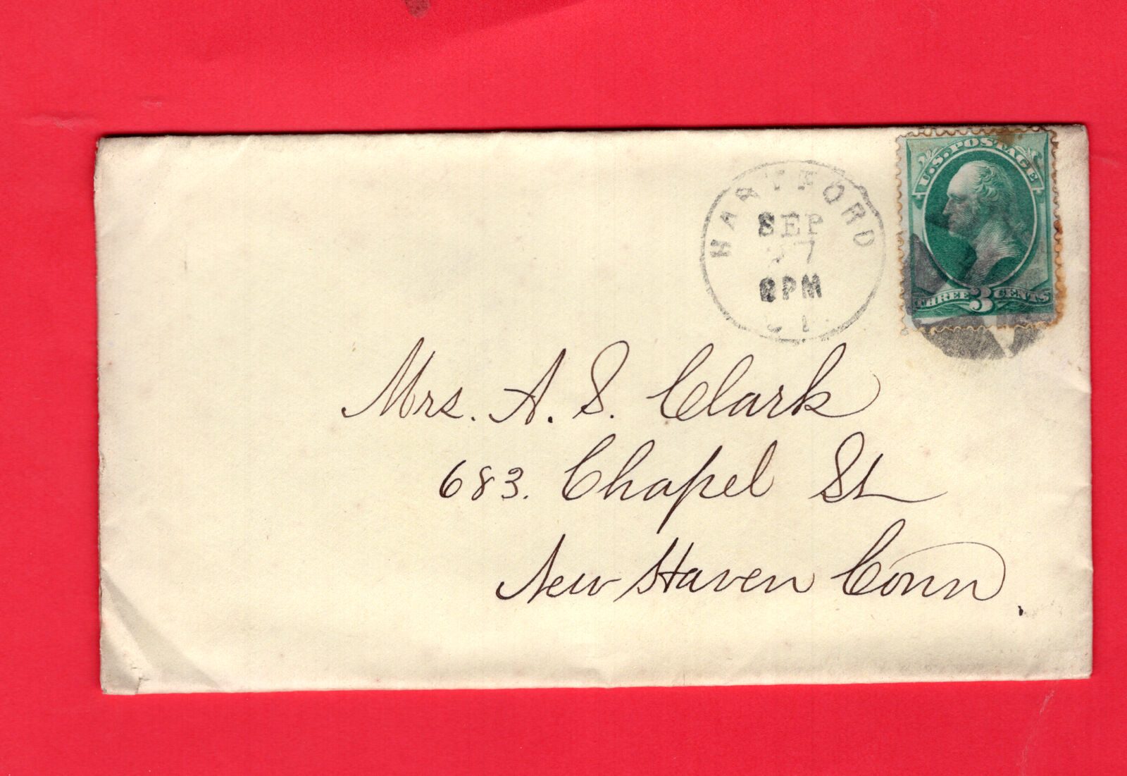 USA, Two Old Covers With 3ct Green Washington, Posted Hartford New Haven 543 - $1.00