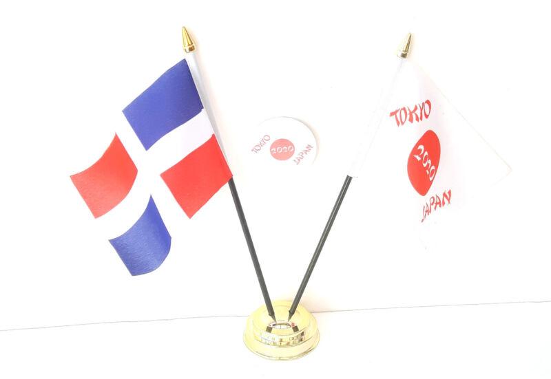 Dominican Republic & Tokyo Japan Olympics 2020 Desk Flags & 59mm BadgeSet