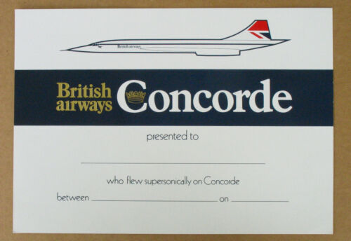 Concorde Flight Certificate
