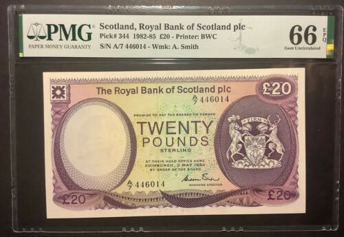 Scotland,Royal Bank of Scotland Plc,P344,1982-85,20 Pounds,PMG 66EPQ