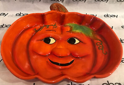 Unique 3D Raised Ceramic Pumpkin /Jack O Lantern Face Candy Serving Dish Platter