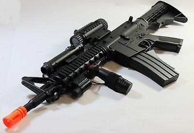 Airsoft Rifle Gun Electric M4 M4A1 AEG Full Auto w/ Flashlight Laser RIS, used for sale  La Puente