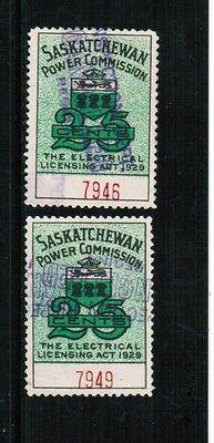 Canada 1929 Saskatchewan Power Comm  2 Used    Se 9 Cat  8 00   Bk 433B