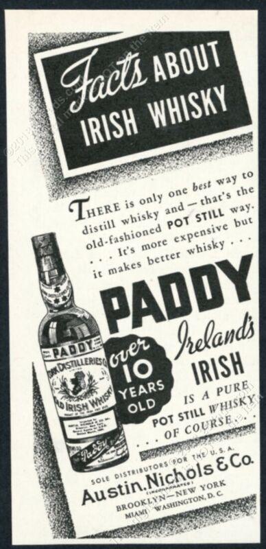 1934 Paddy Irish Whiskey bottle art vintage print ad