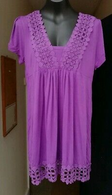 PURPLE THIGH LENGTH WIDE NECK LACE TRIM TOP - SIZE 18 - Neck Thigh Length Lace