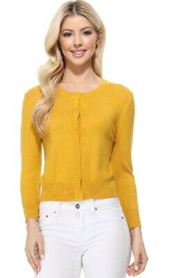 .YEMAK Women's 3/4 Sleeve Crewneck Casual Button Down Cardigan Sweater MK3554