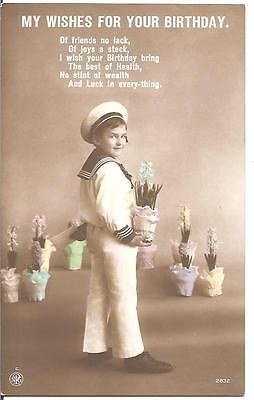 """SUPERB VINTAGE POSTCARD,CHILDREN,CUTE SAILOR BOY""""BEST WISHES BIRTHDAY"""",RP,1900'S"""